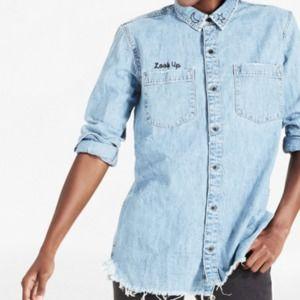 Lucky Brand Denim Boyfriend Distressed Button Top
